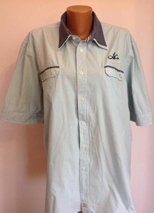 Мужская фирменная рубашка в мелкую клетку. /xxl/ brend lerros& co