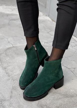 Рр 36-41 осень(зима) натуральный замш стильные ботинки изумруд