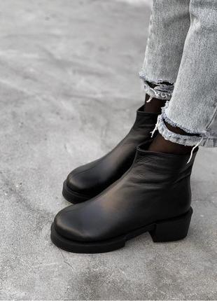 Рр 36-41 осень(зима) натуральная кожа стильные черные ботинки