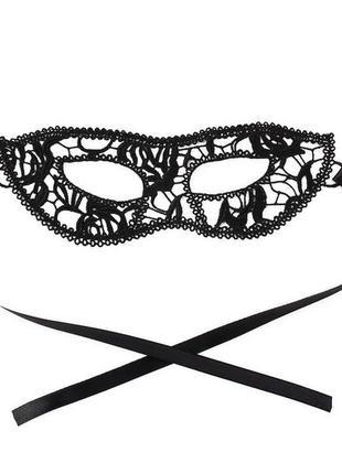 Черная кружевная ажурная маска эротичская для ролевых игр карнавальная