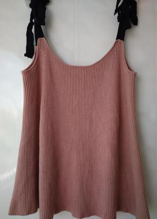 Трикотажный вязаный топ /майка pink  рубчик с контрастными завязками  zara knit