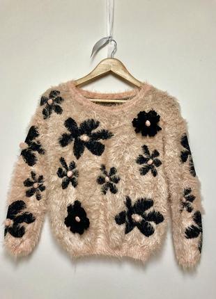 Супер м'який рожевий пухнастий светр / розовый пушистый свитер / травка / ворс