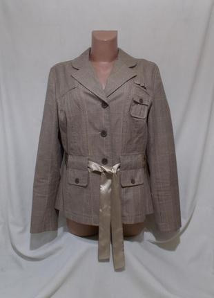 Новая куртка пиджак клетчатая с атласным поясом *rainbow bonprix* 52р