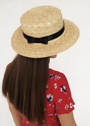 Шляпа канотье с черной лентой и широкими полями 8 см