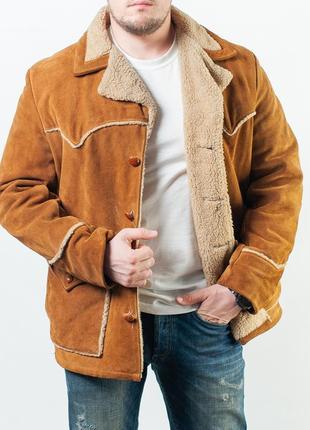 Мужская кожаня шерпа schott western suede leather sherpa jacket