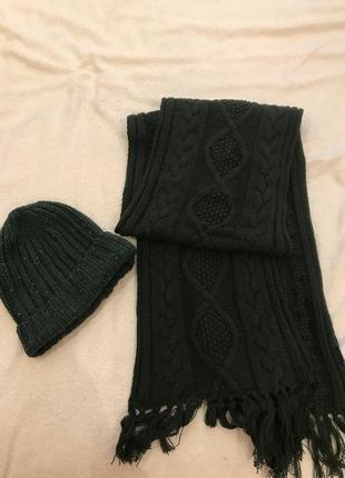 #розвантажуюсь шапка и шарф зеленого цвета