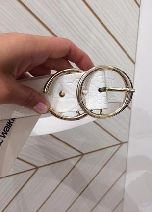 Шикарный белый кожаный пояс ремень анимал, кольца, 66-85 см
