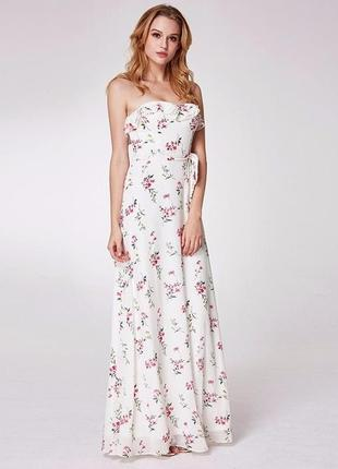 Новое длинное платье с принтом белое размер 38 10