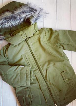 Куртка парка зимняя демисезонная на флисе с капюшоном хаки lupilu