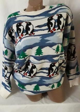 Яркий свитерок с пингвинами