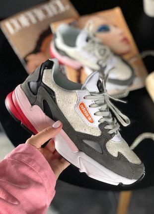 Шикарные женские кроссовки adidas falcon white grey black pink 😍 (весна/ лето/ осень)