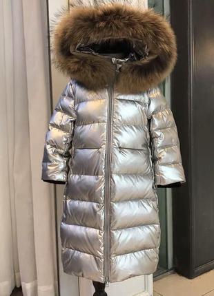 Роскошный серебристый пуховик куртка на девочку в стиле moncler