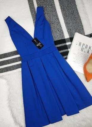 Распродажа! новое нарядное платье держит форму кобальт v вырез с декольте