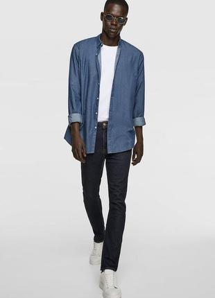 Котоновая рубашка denim джинсовая slim fit от zara man
