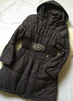Шикарное демисезонное пальто с капюшоном roman originals