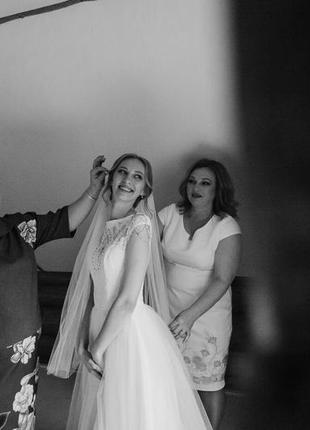 Нежное воздушное свадебное платье белого цвета6 фото