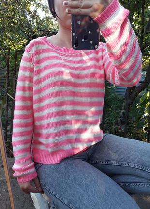 Яркий полосатый джемпер терранова. распродажа всей одежды