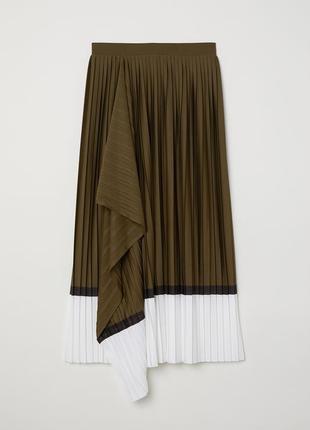 Оригинальная трендовая юбка миди плиссе с пришитым запахом от h&m