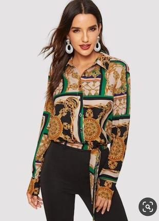 Рубашка блуза с платочным принтом