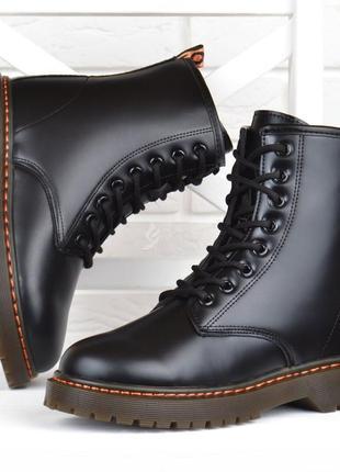 Ботинки женские martens style на платформе черные прошитые на шнуровке