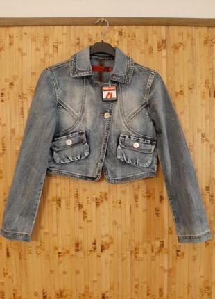 Трендовая джинсовая укороченная  куртка жакет англия miss posh