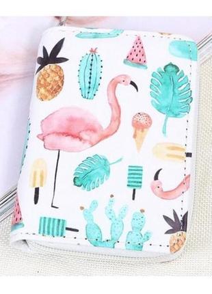 Есть разные хит! модный короткий кошелек на молнии фламинго кактусы мороженое ананасы