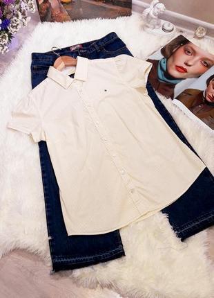 Tommy hilfiger  стильная рубашка в полоску