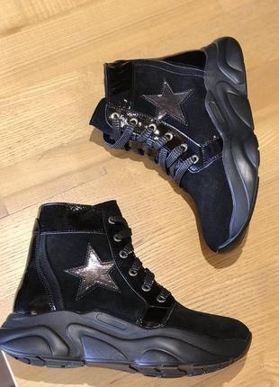 Кожаные деми ботинки сапожки для девочек