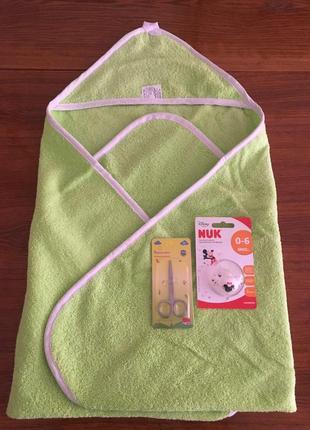 Махровое полотенце с уголком + подарок