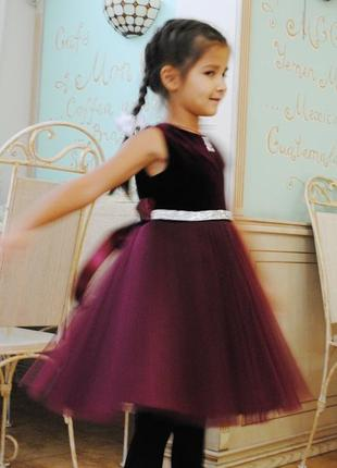 Нарядное бархатное платье со стеклярусом