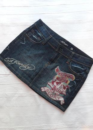 Ed hardy, оригинал! брендовая джинсовая юбка#юбочка#спідниця, джинс#деним.