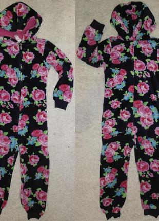 Кигуруми пижама комбинезон домашний костюм слип цветы