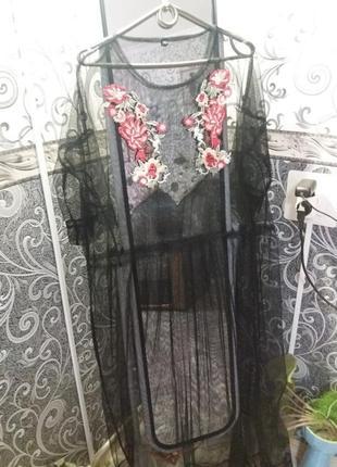 Платье сетка с вышивкой.zara