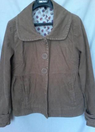 Вельветовая легкая куртка пиджак жакет с баской можно беременным