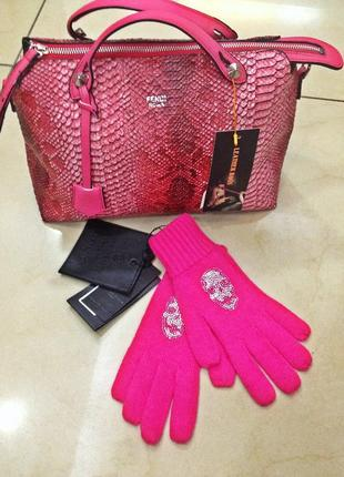 Ярко розовые перчатки phillip plein