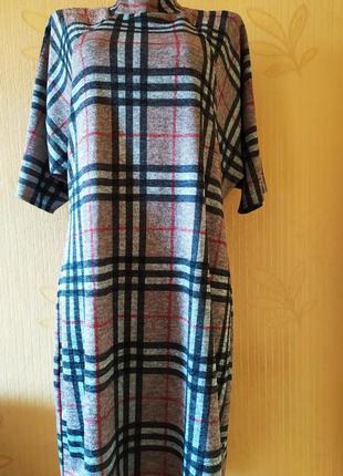 Стильное платье в клетку р-58;