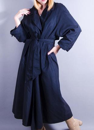 Черный тренч оверсайз, длинный плащ, теплый тренч, объемное пальто