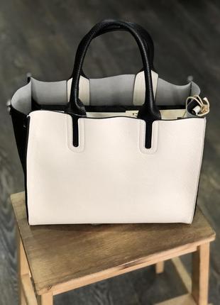 Чорно біла шкіряна сумка🌹черно белая кожаная сумка