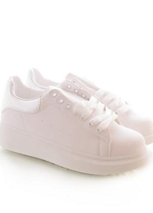 Стильные белые кроссовки на толстой подошве большой размер2 фото