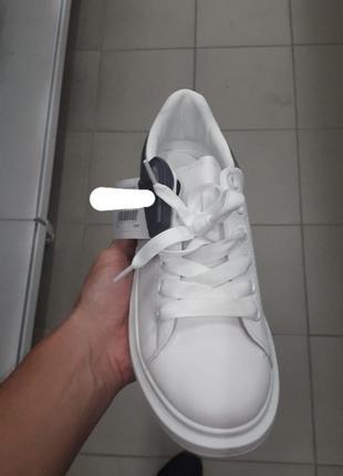 Стильные белые кроссовки на толстой подошве большой размер5 фото