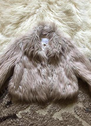 Шубка пальто на девочку искусственный мех лама длинный ворс розовая демисезонная
