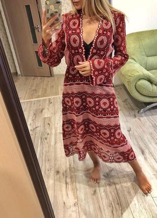 Роскошное вязанное длинное платье миди в стиле 70-х zara1 фото