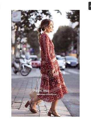 Роскошное вязанное длинное платье миди в стиле 70-х zara6 фото
