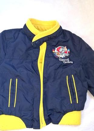 Демисезонная двусторонняя куртка на мальчика 70см осенняя весенняя