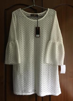 Ажурная белая блуза туника с рукавчиком