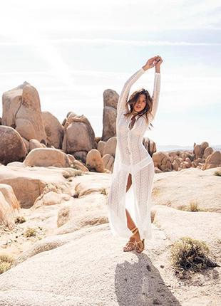 Пляжное платье гипюр длинное белое