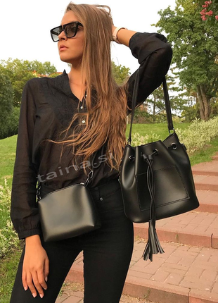 6 цветов! сумка 2в1 мешок повседневная черная шопер с косметичкой кросс боди1 фото