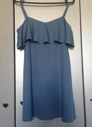 Сарафан платье небесного цвета с воланами