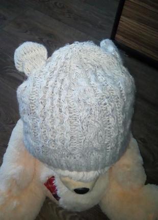 Двойная теплая шапка с ушками.