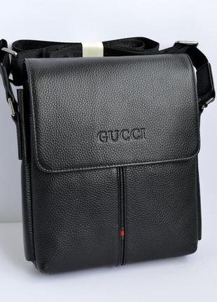 Мужская сумка из кожи на три отдела черного цвета